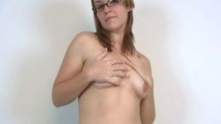 Stockinged Inexperienced Teenage Babe In Glasses Heidi Flashing Her Pointy Jugs And Dancing Invitingly For You